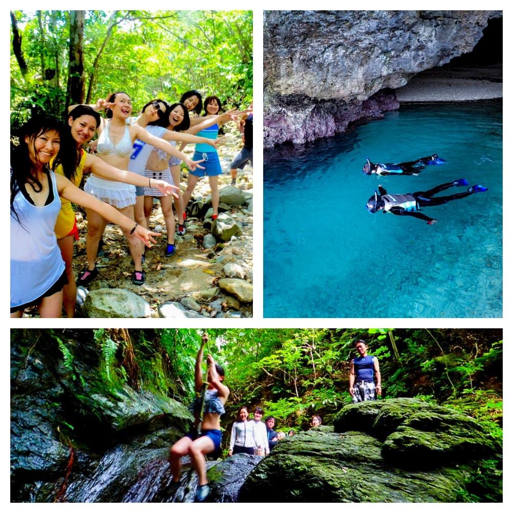 青の洞窟シュノーケリングとジャングル滝つぼトレッキングツアー