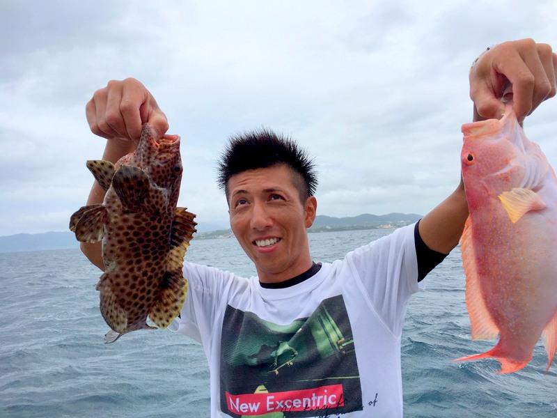 石垣島釣りダブルヒット
